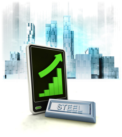 metropole: steel commodity with positive online results in business district illustration Stock Photo