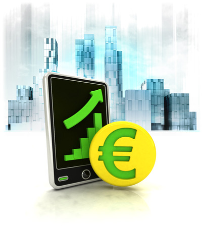 Euro gold coin with positive online results in business district illustration