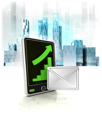 email message with positive online results in business district illustration