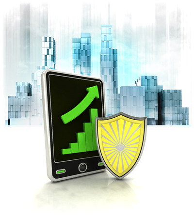metropole: shield protection with positive online results in business district illustration
