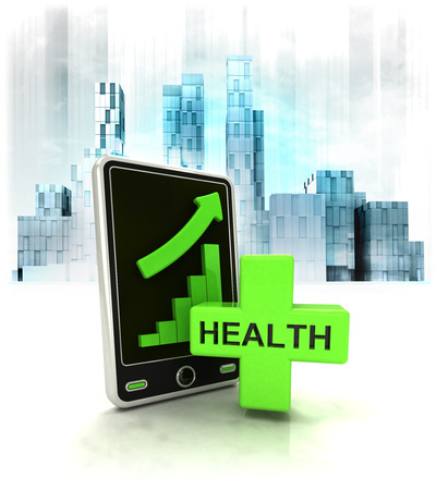 metropole: health cross with positive online results in business district illustration Stock Photo