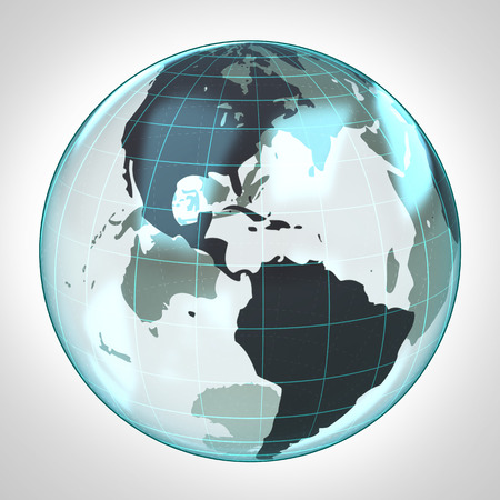 world globe earth bubble focused to America illustration illustration