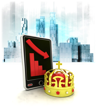 business district: royal crown with negative online results in business district illustration Stock Photo