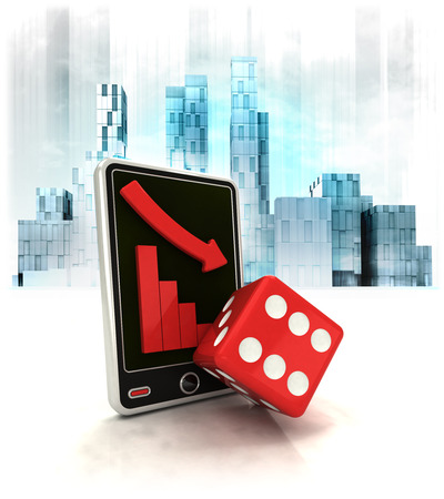 exchange loss: red dice with negative online results in business district illustration