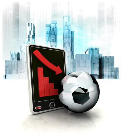 exchange loss: soccer ball with negative online results in business district illustration