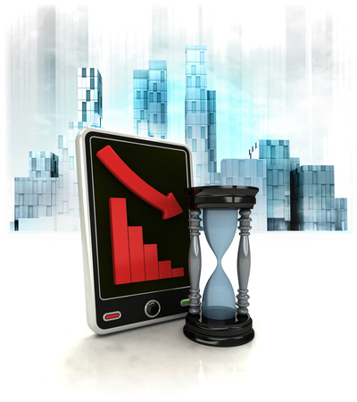 hourglass with negative online results in business district illustration illustration