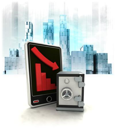 trade secret: bank vault with negative online results in business district illustration