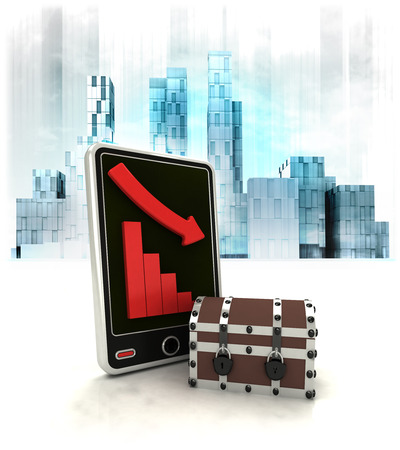 mystery chest with negative online results in business district illustration illustration