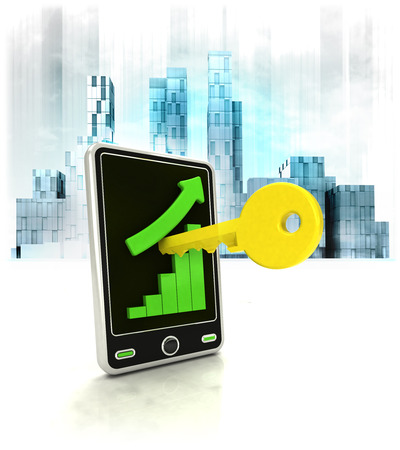 metropole: key unlock with positive online results in business district illustration Stock Photo