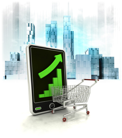 metropole: shopping chart with positive online results in business district illustration Stock Photo