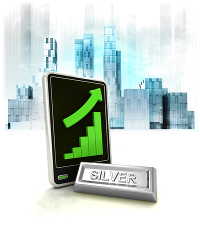 silver commodity with positive online results in business district illustration
