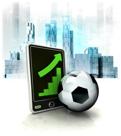 metropole: soccer ball with positive online results in business district illustration Stock Photo