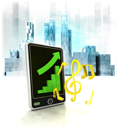 business district: modern music with positive online results in business district illustration