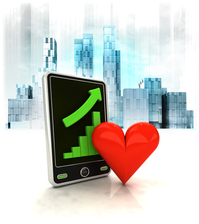 love heart with positive online results in business district illustration