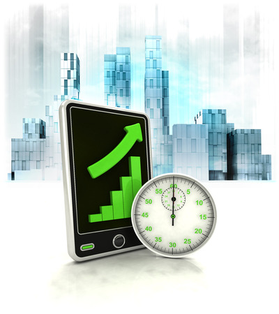 stopwatch timer with positive online results in business district illustration