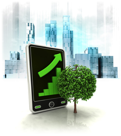 leafy tree with positive online results in business district illustration