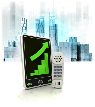 telephone with positive online results in business district illustration