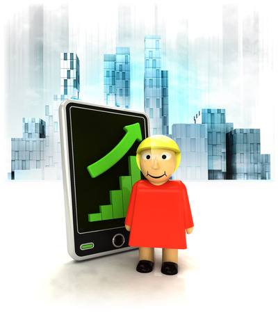 business district: standing woman with positive online results in business district illustration Stock Photo
