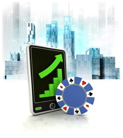 poker chip with positive online results in business district illustration illustration