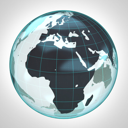 world globe earth bubble focused to Africa and Europe illustration illustration