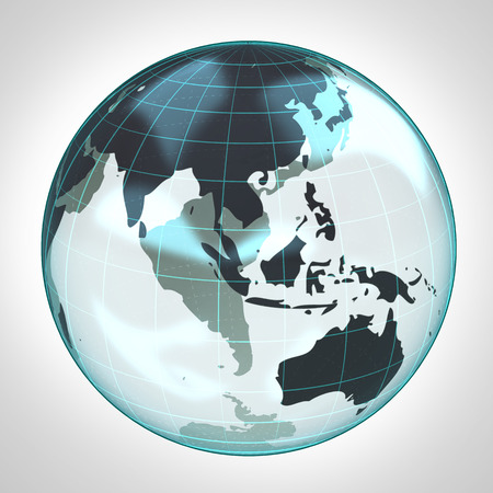 world globe earth bubble focused to Asia and Australia illustration illustration