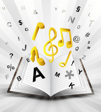 literature: music signs in opened book with flying alphabet concept vector illustration Illustration