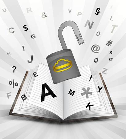 open padlock in opened book with flying alphabet concept vector illustration Vector