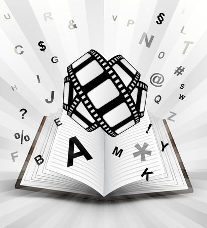 cinta de pelicula: cinta de película en el libro abierto con el vuelo del alfabeto concepto de ilustración vectorial Vectores