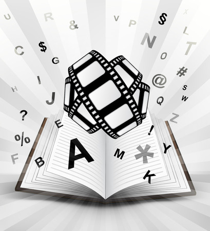 movie tape in opened book with flying alphabet concept vector illustration