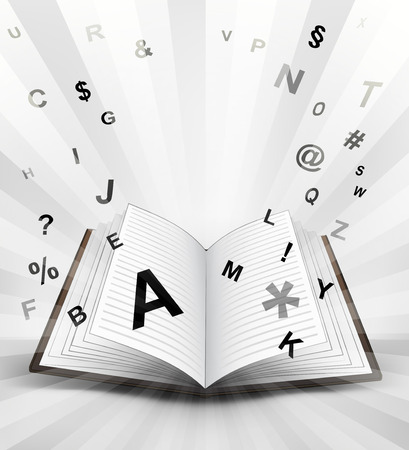 open book with flying alphabet concept vector illustration Vector