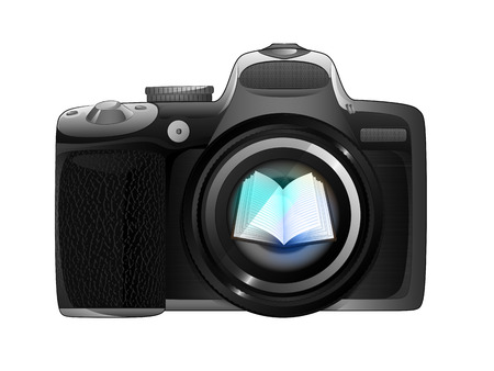 electronic publishing: in camera focus ready to snapshot isolated vector illustration