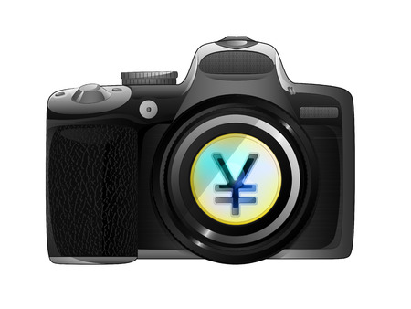 snapshot: golden Yuan coin in camera focus ready to snapshot isolated vector illustration