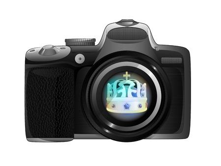 snapshot: take royal photos with camera ready to snapshot isolated illustration