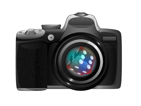 lucky dice in camera focus ready to snapshot isolated vector illustration Illustration