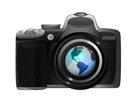 snapshot: America earth globe in camera focus ready to snapshot isolated vector illustration