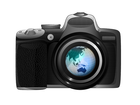 Asia earth globe in camera focus ready to snapshot isolated vector illustration Vector