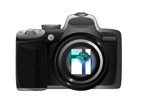 snapshot: gift surprise in camera focus ready to snapshot isolated vector illustration