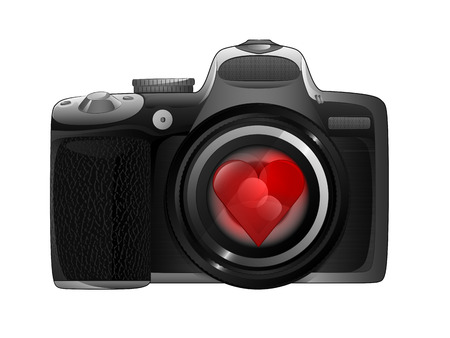 snapshot: red heart in camera focus ready to snapshot love isolated vector illustration