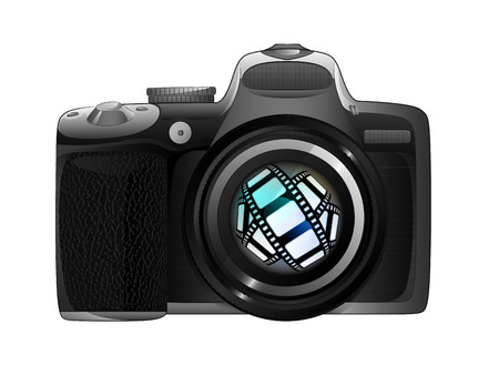 snapshot: tape in camera focus ready to snapshot isolated vector illustration