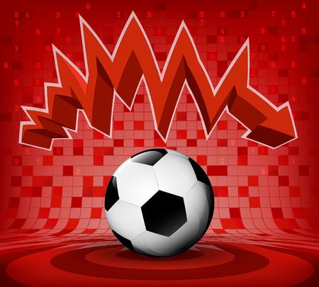 football ball under red descending zig zag arrow vector illustration Vector