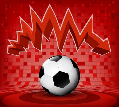 descending: football ball under red descending zig zag arrow vector illustration Illustration