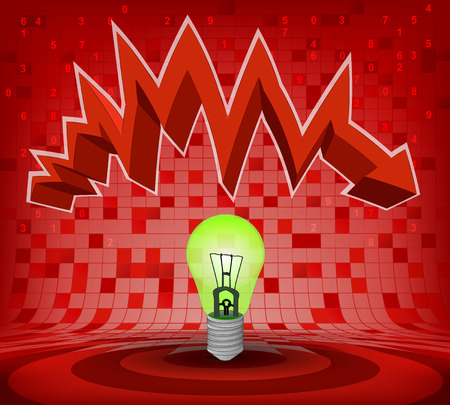 green bulb under red descending zig zag arrow vector illustration Vector