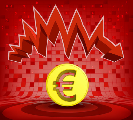descending: golden Euro coin under red descending zig zag arrow vector illustration