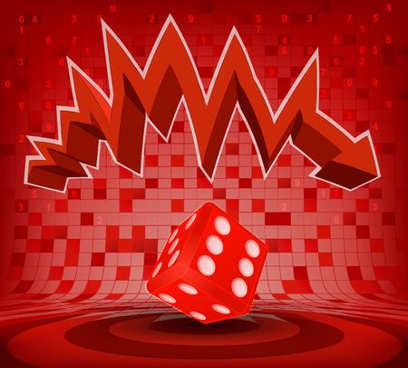 descending: lucky dice under red descending zig zag arrow vector illustration