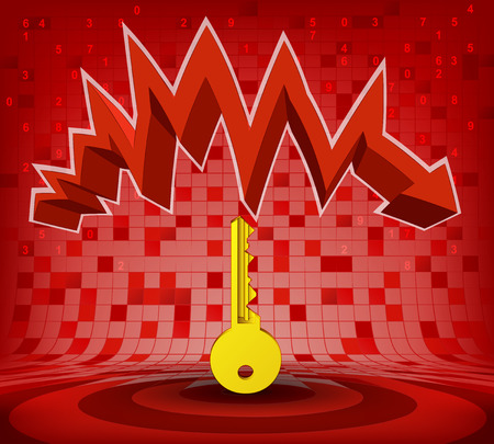 descending: golden key under red descending zig zag arrow vector illustration Illustration