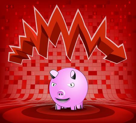 descending: happy pig under red descending zig zag arrow vector illustration Illustration