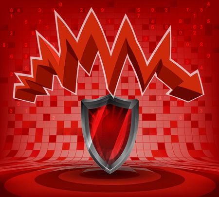 descending: protective shield under red descending zig zag arrow vector illustration Illustration