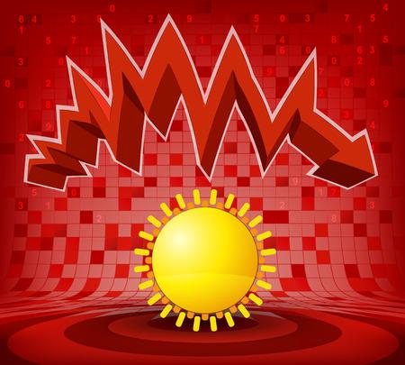 descending: summer sun under red descending zig zag arrow vector illustration