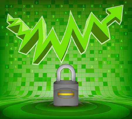 gain access: security sign under green rising zig zag arrow vector illustration