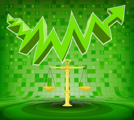 golden weight under green rising zig zag arrow vector illustration Vector
